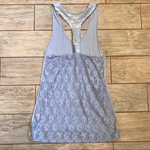 Tops - Lace and Sequence Razorback Tank